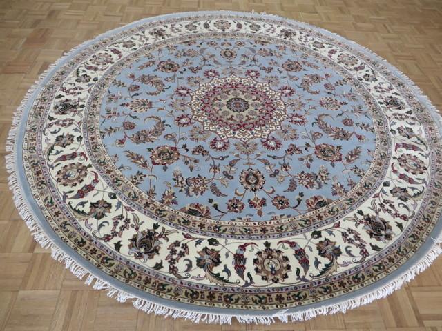 8x8 round handmade blue fine tabriz kashan silk oriental rug