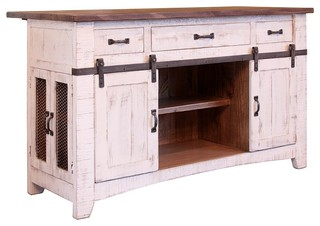 Greenview Kitchen Island, Distressed White