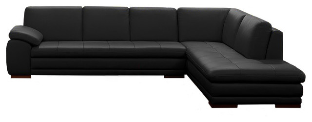 625 modern italian leather sectional by j m black right facing chaise