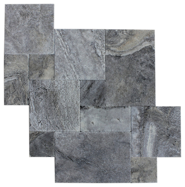 silver travertine tile antique pattern brushed and chiseled 20 boxes
