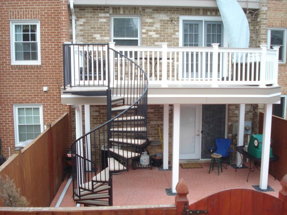 Deck Spiral Staircase Traditional Deck Baltimore By | Spiral Staircase Outdoor Deck | Log | Portable Rectangular Concrete | Metal | Porch | Black