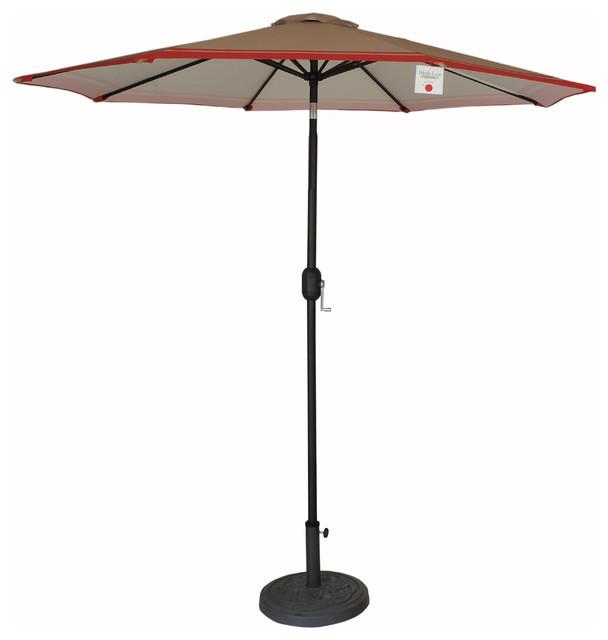 9 premium patio market umbrella tan red stripes crank and tilt