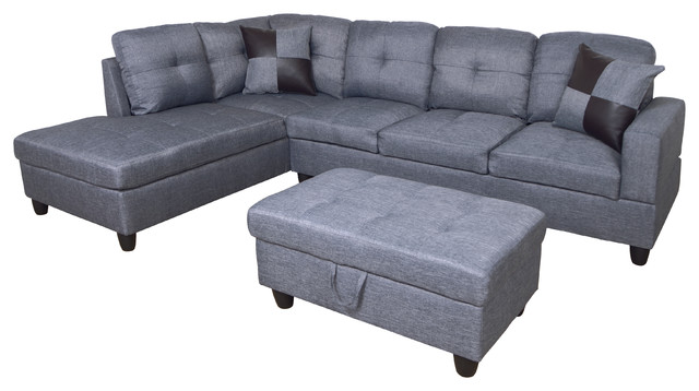 microfiber l shape sectional sofa with ottoman left hand facing chaise