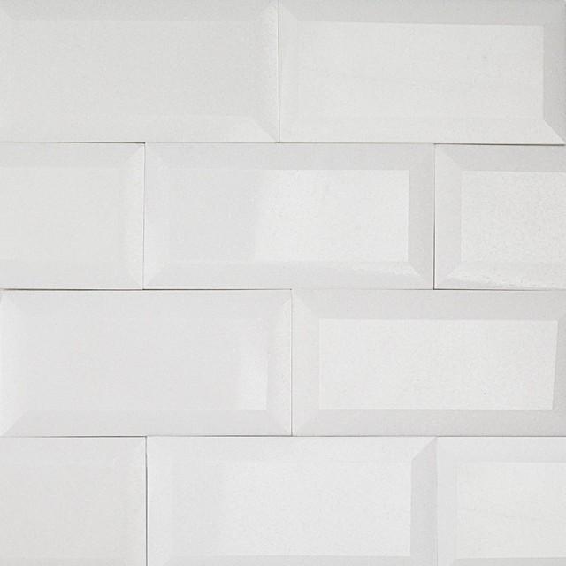 beveled edge subway backsplash tile white gloss 3 x6