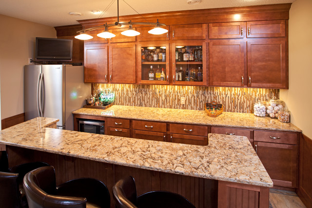Basement Bar With Cambria Countertops Traditional