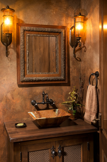 Elegant English Country Home Traditional Powder Room
