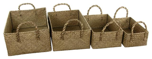 Hand Plaited Basket Bin With Handles ( Set Of 4