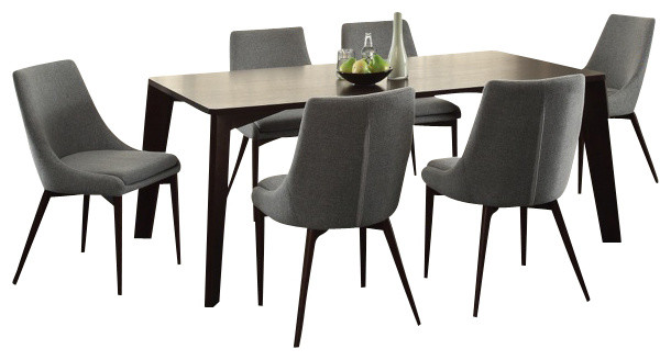 Ultra Modern Espresso Dining Table With Gray Fabric Dining