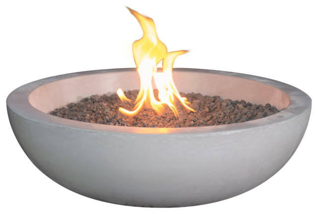 propane fueled fire bowl for your patio table pearl gray