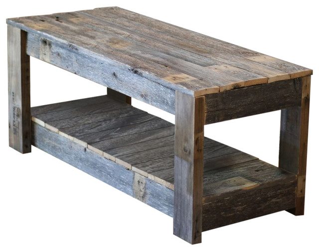natural farmhouse coffee table with shelf