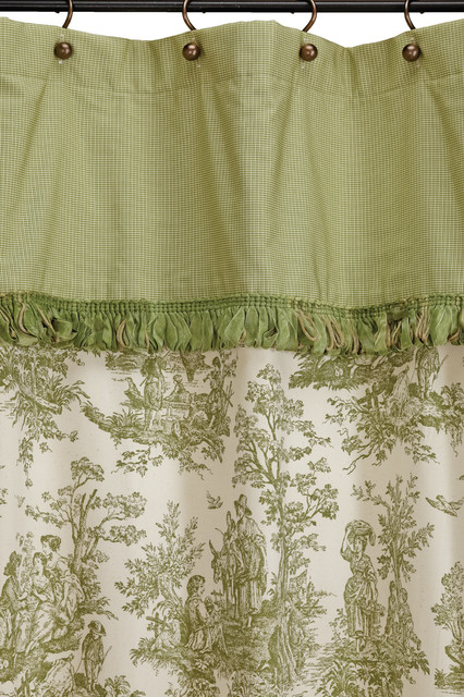 Ready Made Extra Long Shower Curtain Colonial Toile Sage Green Traditional Shower Curtains