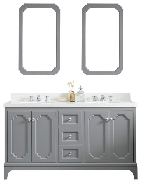 60 wide cashmere gray double sink quartz carrara bathroom vanity