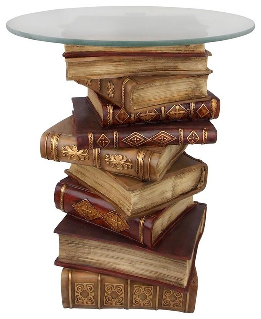 power of books sculptural glass topped side table