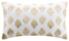 Nadia Dot Metallic Gold Embroidery Oblong Pillow