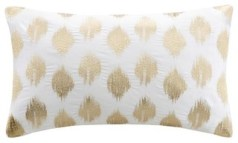 Nadia Dot Metallic Gold Embroidery Oblong Pillow