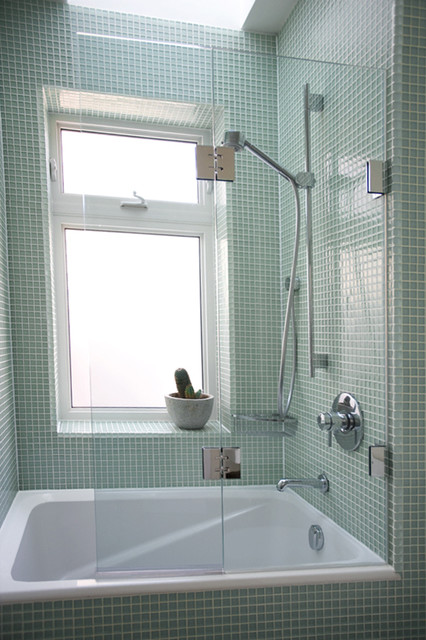 Double Panel Frameless Bathtub Screen Traditional