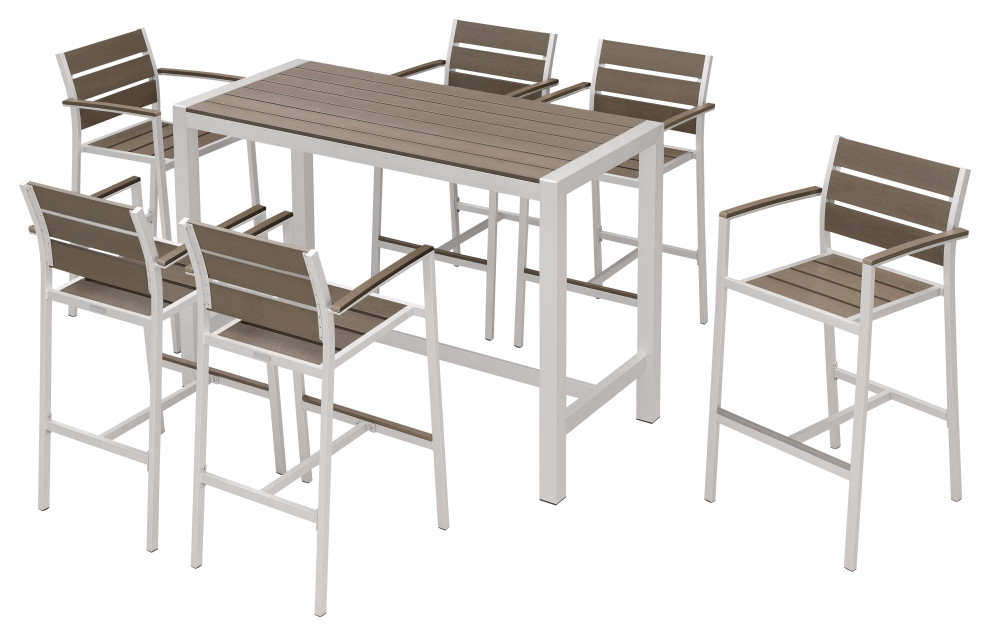 outdoor patio furniture dining bar table set 7 piece set