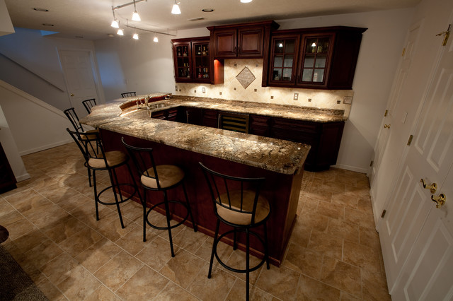 Basement Bar With Fire Bordeaux Granite Contemporary