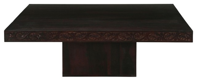brocton rustic solid wood large square coffee table with pedestal