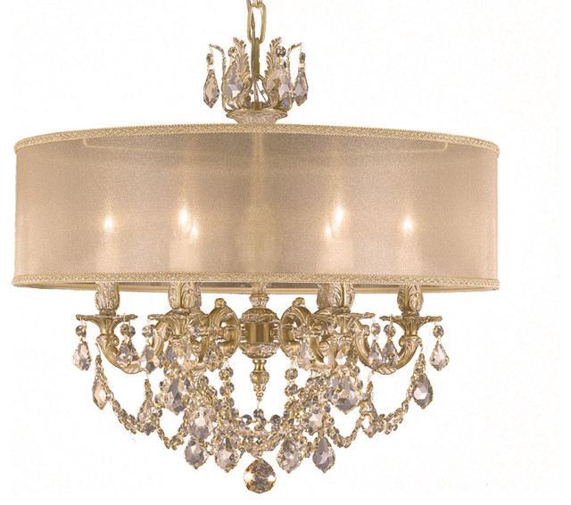 American Brass Crystal Chandelier Exclusive For Houzz Traditional Chandeliers