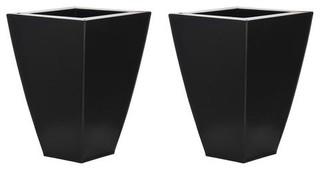 Tapered Square Small Zinc Vases, Set of 2, Matte Black