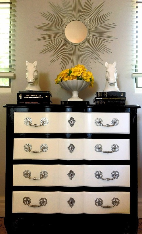 Black And White Painted Dresser With Silver Hardware