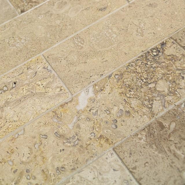 brushed 2 x8 marble subway tile travertine