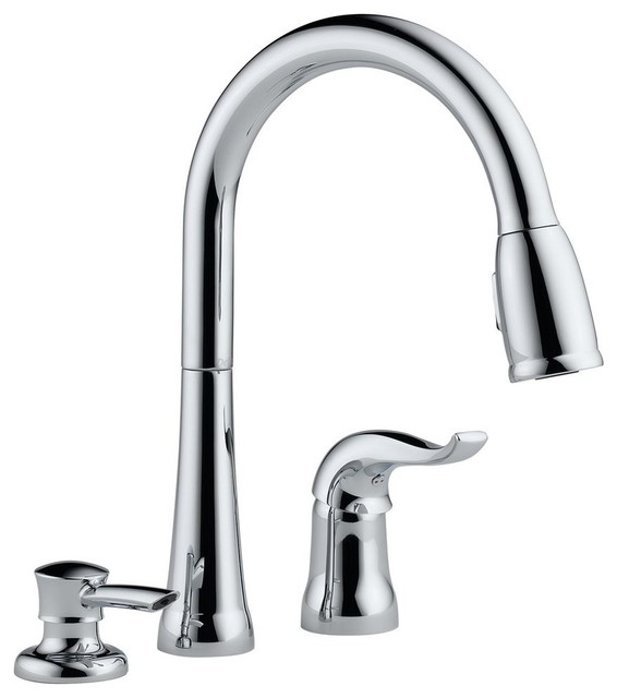 delta kate single handle pull down kitchen faucet with soap dispenser chrome