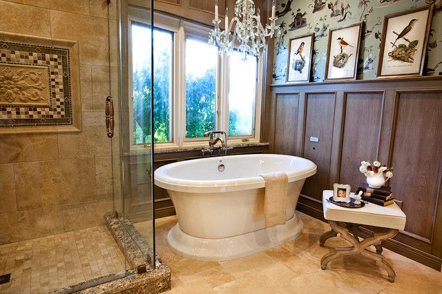 Wood Wainscot and Freestanding Tub Bathroom Renovation St. Louis, MO traditional-bathroom