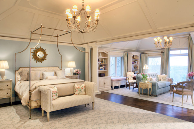 Myers Briggs Personality Types and Home Decor Neutral Bedroom with Large Bed Canopy Chandelier Sunburst Mirror Bedside Lamps