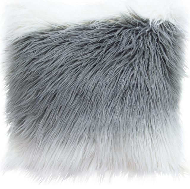 faux mongolian fur pillow white gray