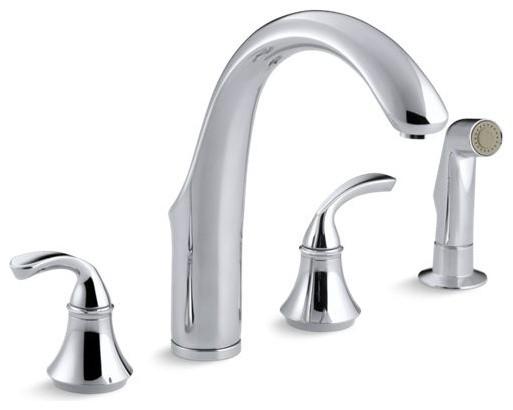 kohler forte 4 hole kitchen faucet w 7 3 4 spout w sidespray polished chrome