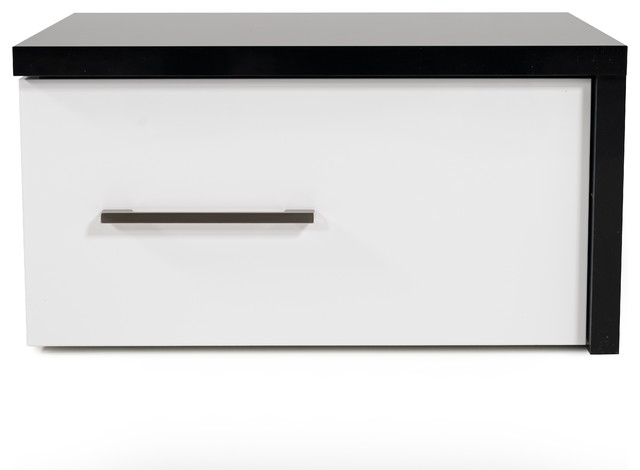 modrest moon contemporary black and white nightstand right facing design