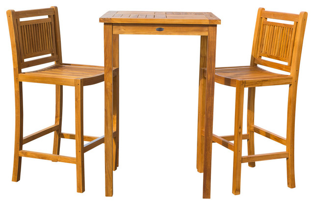 3 piece teak wood maldives small patio bistro bar set with 27 square bar table