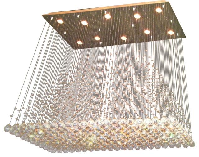 Adele 11 Light Rectangular Chandelier Chrome Contemporary Chandeliers
