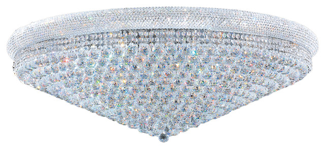 Empire 33 Light Chrome Finish Crystal Flush Mount Ceiling Extra Large Contemporary Chandeliers