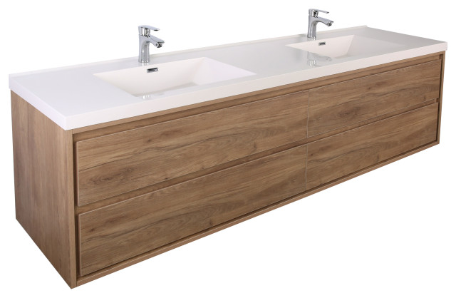 https www houzz com products mom 72 wall mounted vanity with 4 drawers and acrylic double sink teak oak prvw vr 149781675