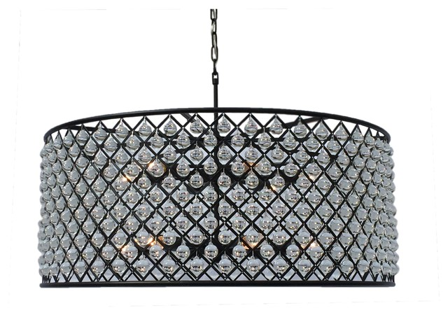 Cassiel Round Drum Crystal Chandelier Extra Large Black Contemporary Chandeliers