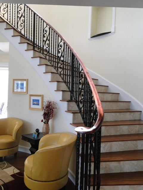 Interior Wrought Iron Stair Rail With Lateral Scroll | Rot Iron Stair Railing