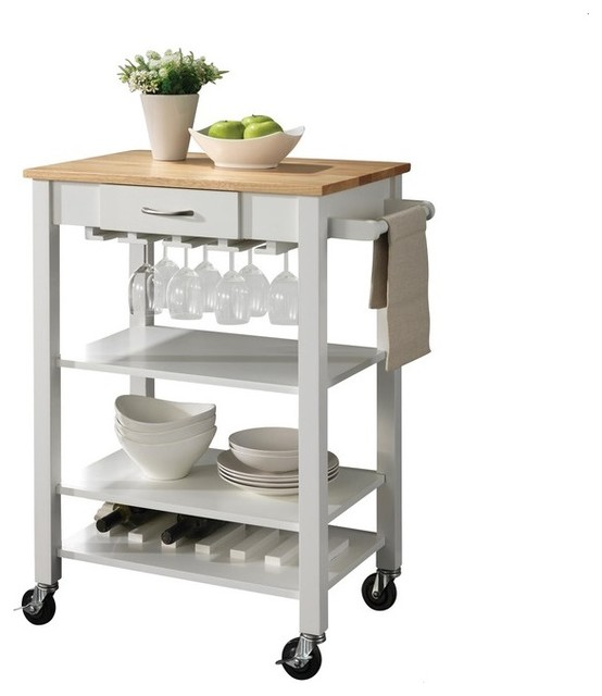 coaster white natural kitchen cart with butcher block top