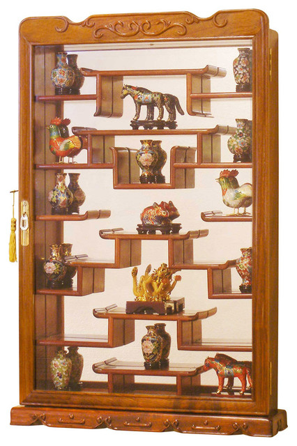 Rosewood Wall Curio Display Cabinet Asian Home Decor