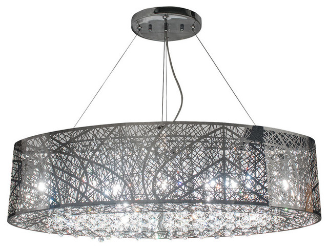 Clarissa Crystal Drop Rectangular Chandelier Source Chrome Soiree Oblong Transitional