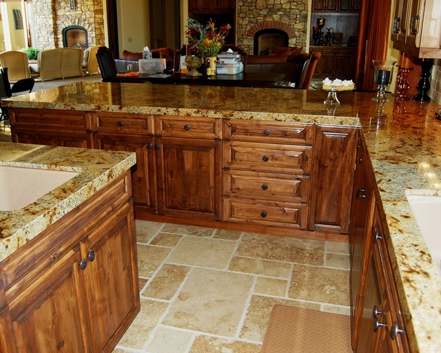 Tuscan Kitchen Peninsula With Counter Seating Mediterranean Kitchen Los Angeles By Cedar