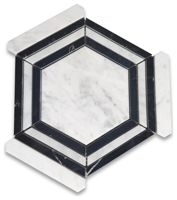 carrara white marble hexagon georama nero strip geometric mosaic tile polished