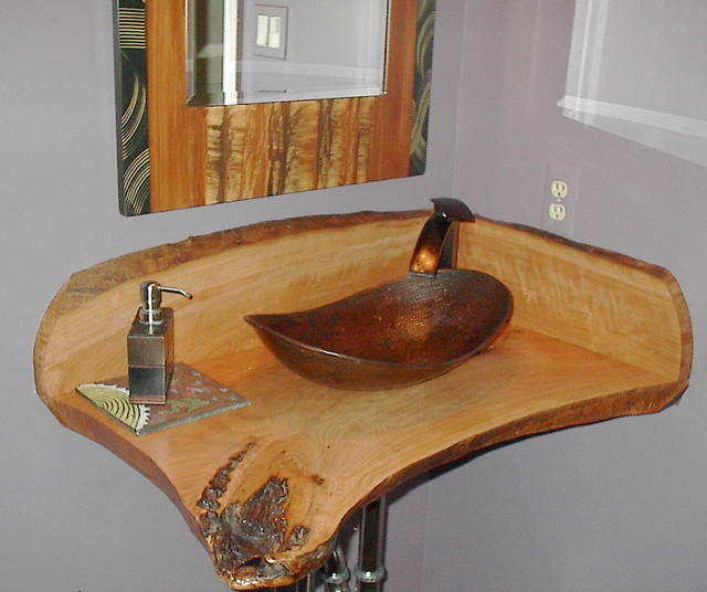 copper canoe shaped vessel sink - antique dark copper - eclectic
