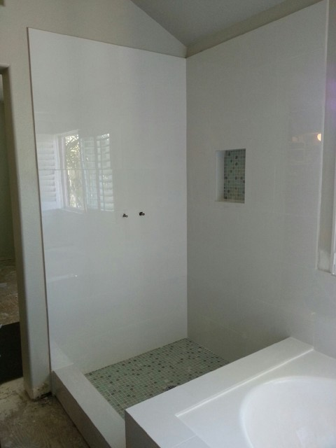 Pure White Glossy Tile Bathroom Remodel