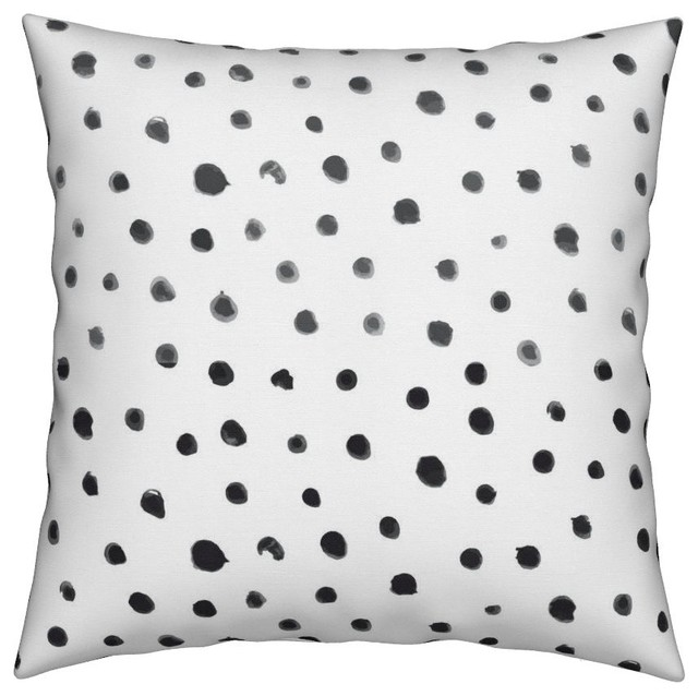 dots hand painted black and white black white throw pillow organic sateen
