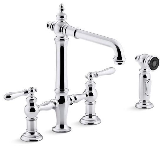 kohler artifacts deck mount bridge kitchen faucets sidespray polished chrome