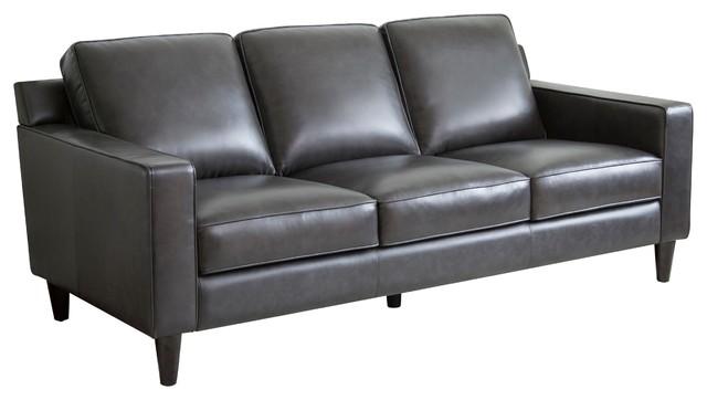 stardell top grain leather sofa dark gray