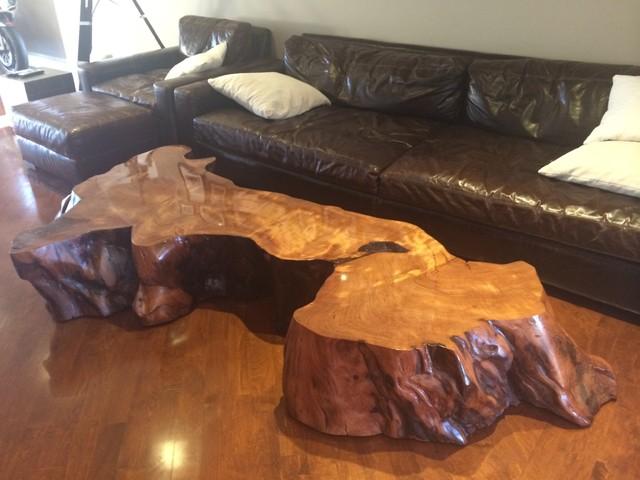 Large Redwood Slab Coffee Table